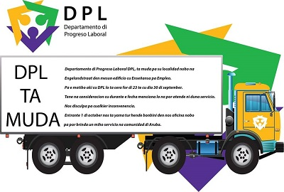 Ad announcement moving of Departamento di Progreso Laboral (DPL) to its new location